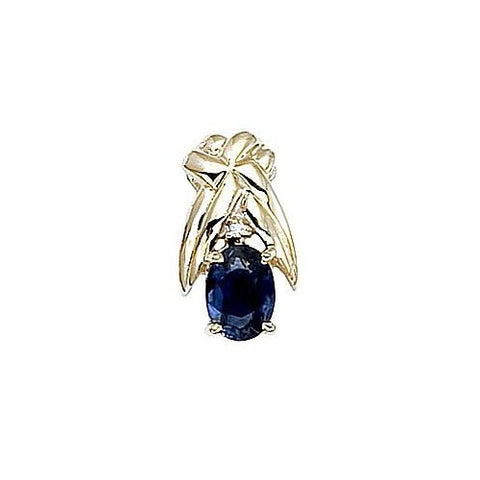 14kt Yellow Gold Diamond and Sapphire X Design Pendant
