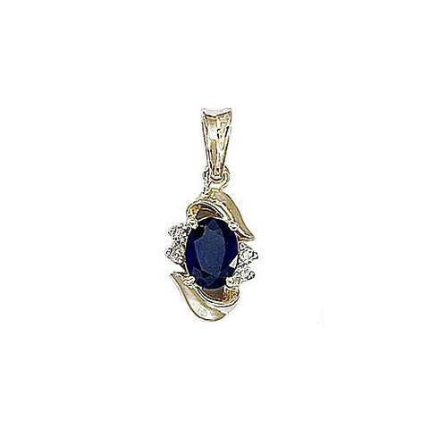 Diamond and Blue Sapphire 14kt Yellow Gold Pendant