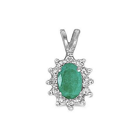 Oval Emerald 14kt Yellow Gold Diamond Pendant 0.57ct TW