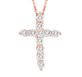 14kt White Gold Diamond Cross Pendant 0.33ct TW with Chain
