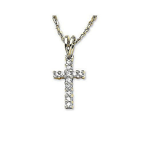 14kt Yellow Gold Diamond Cross Pendant