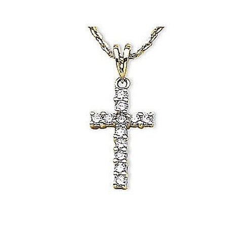 14kt Yellow Gold Diamond Cross Pendant 0.25ct TW*