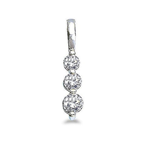 14kt White Gold 3 Stone Diamond Journey Pendant 0.50ct TW