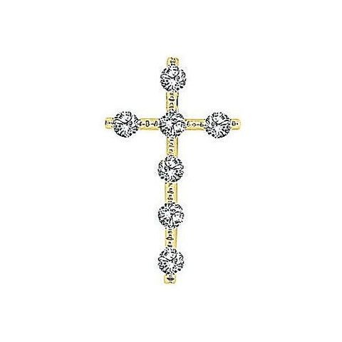 14kt Yellow Gold Diamond Cross Pendant 3/4ct TW*