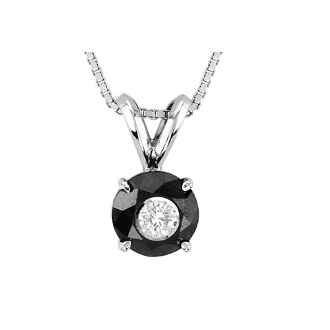14kt White Gold Round Black and White Diamond Pendant 1.25ct TW