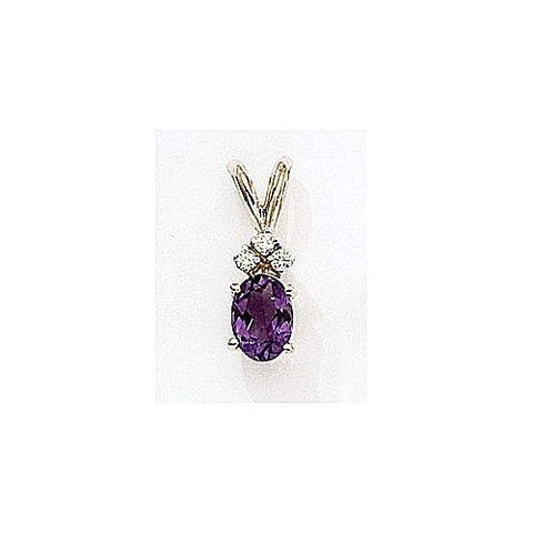 14kt Gold Diamond and Oval Amethyst Pendant 0.95ct TW
