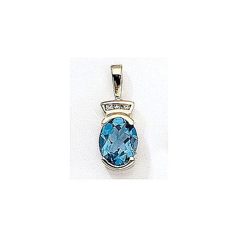 14kt Gold Diamond and Blue Topaz Pendant 2.40ct TW