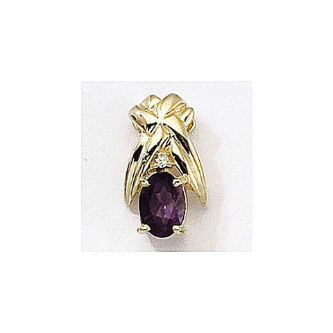 Diamond and Amethyst 14kt Gold Pendant 0.80ct TW