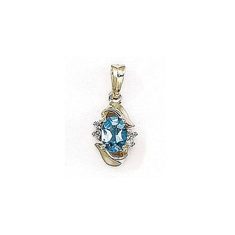 Diamond and Blue Topaz 14kt Yellow Gold Pendant 1.06ct TW