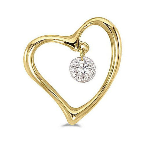 14kt Yellow Gold Swinging Diamond Heart Pendant