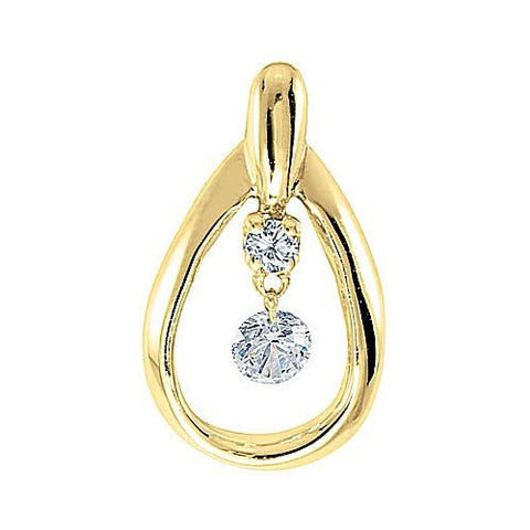 14kt Yellow Gold Swinging Diamond Pearshape Pendant