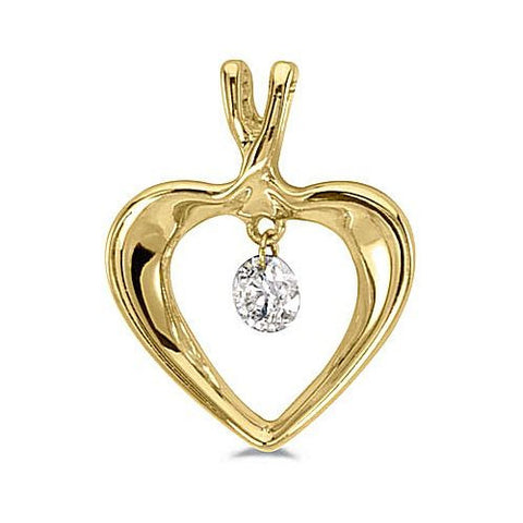 14kt Yellow Gold Swinging Diamond Heart Pendant 0.15ct TW*