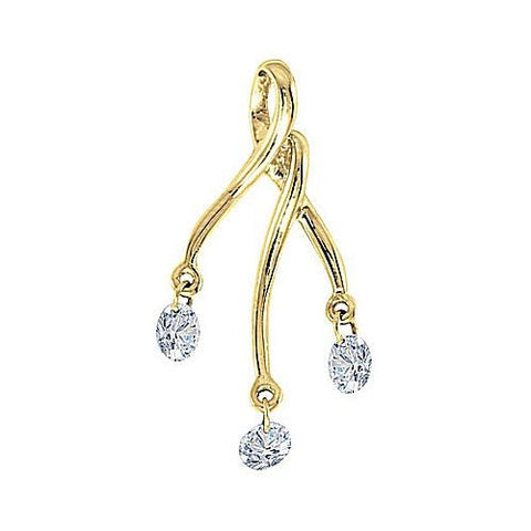 14kt Yellow Gold Swinging Diamond Freeform Pendant
