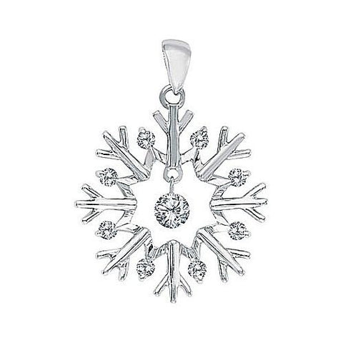 14kt White Gold Swinging Diamond Sunburst Pendant