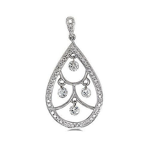 14kt White Gold Pearshape Swinging Diamond Pendant
