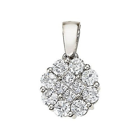 14kt White Gold Round Diamond Cluster Pendant 1.00ct TW*