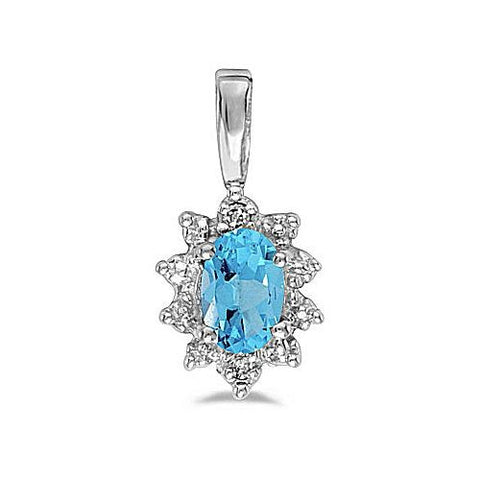 14kt White Gold Oval Blue Topaz and Diamond Pendant