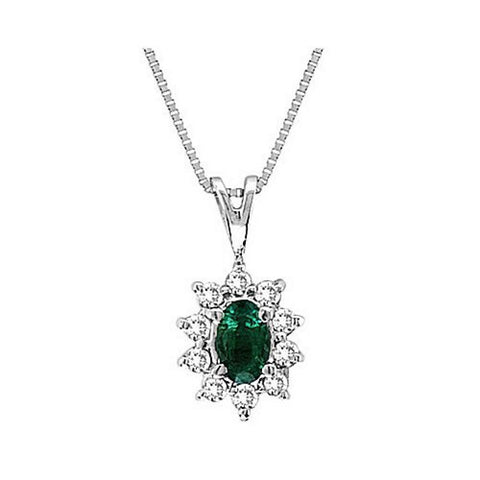 14kt Gold Diamond and Emerald Pendant 0.35ct TW