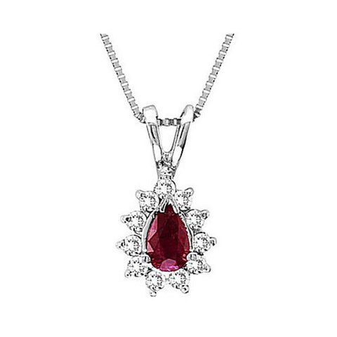 14kt Gold Diamond and Ruby Pendant 0.42ct TW