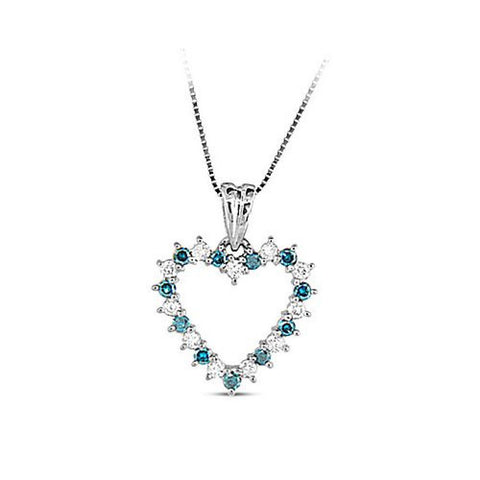 0.45cttw Blue and White Diamond Heart Pendant set in 14k Gold