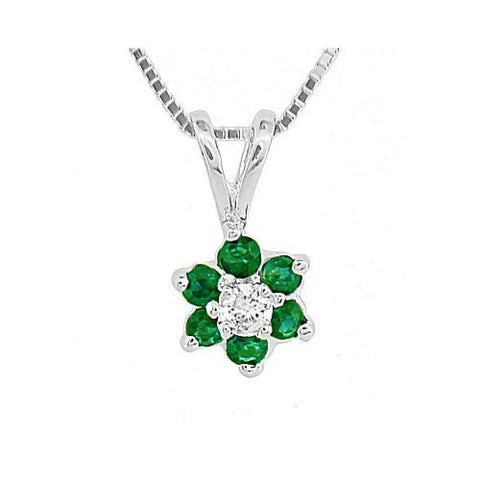 Emerald and Diamond Flower Cluster Pendant in14k Gold