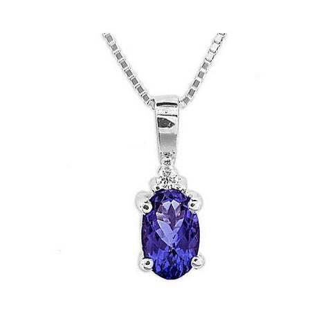 0.49cttw Tanzanite and Diamond Pendant set in 14k Gold