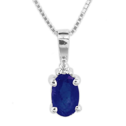 0.52ct tw Diamond and Oval Blue Sapphire Pendant in 14kt Gold