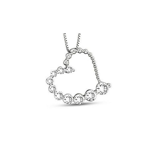 0.50ct tw Diamond 14k Gold Journey Heart Pendant