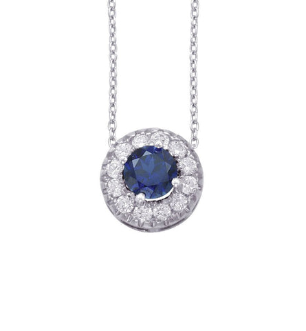 14kt White Gold Blue Sapphire and Diamond Halo Pendant 1.00ct TW