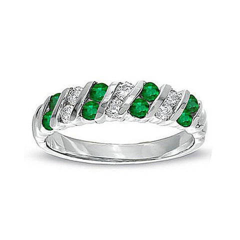 0.80ct tw Emerald and Diamond Band Set in 14k Gold