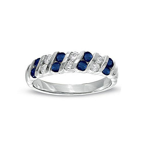 0.80ct tw Sapphire and Diamond Band Set in 14k Gold