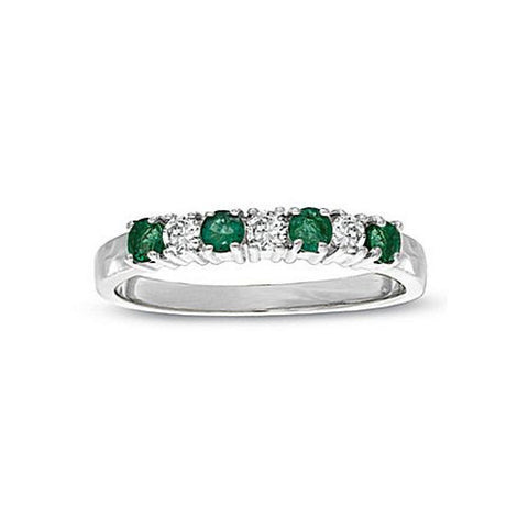 0.37cttw Emerald and Diamond Band set in 14k Gold