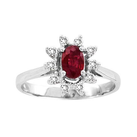 0.65cttw Oval Ruby and Diamond Ring in 14k Gold