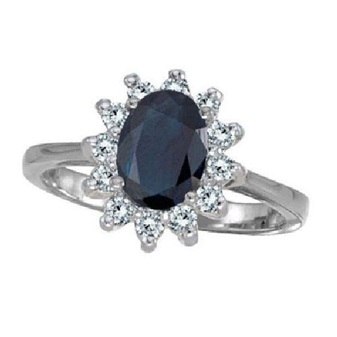 Sterling Silver Princess Diana Sapphire Ring 3.35ct TW