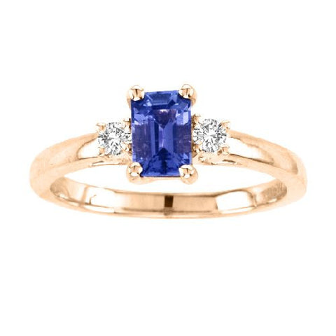14kt Yellow Gold Emerald Cut Tanzanite and Diamond Ring 0.85ctw