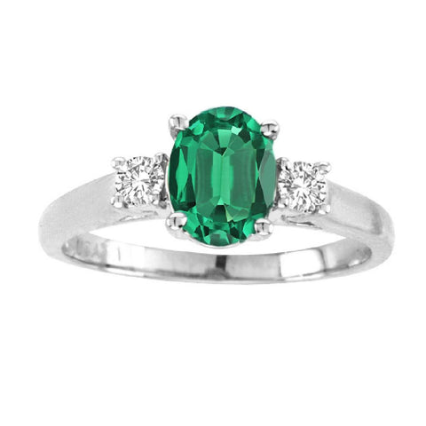 14kt White Gold Oval Diamond and Emerald Ring  1.20ctTW