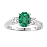14kt White Gold Oval Diamond and Emerald Ring  1.00ctTW