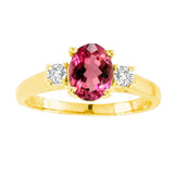 14kt White Gold Oval Diamond and Rubellite Ring  0.70ctTW