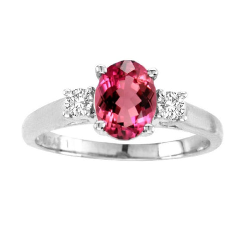 14kt White Gold Oval Diamond and Rubellite Ring  1.40ctTW
