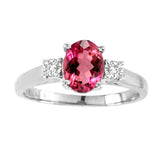 14kt White Gold Oval Diamond and Rubellite Ring  1.00ctTW