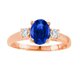 14kt White Gold Oval Diamond and Blue Sapphire  Ring  1.20ctTW