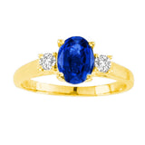 14kt White Gold Oval Diamond and Blue Sapphire  Ring  1.80ctTW