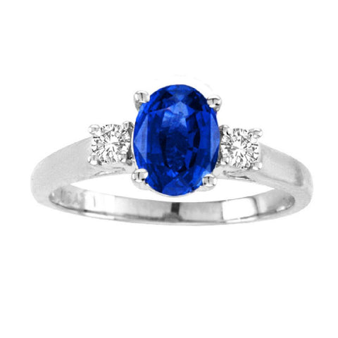 14kt White Gold Oval Diamond and Blue Sapphire  Ring  0.80ctTW