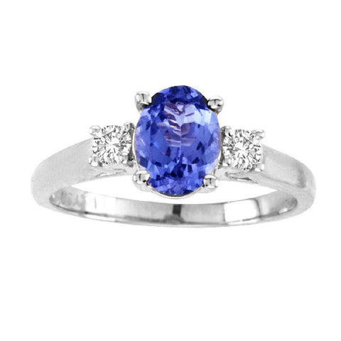 14kt White Gold Oval Diamond and Tanzanite Ring  0.70ctTW
