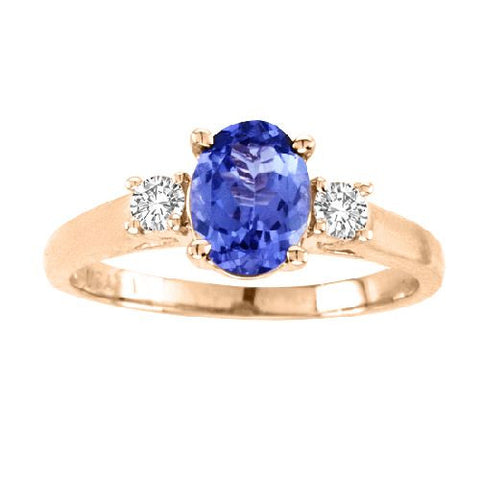 14kt Yellow Gold Oval Tanzanite and Diamond Ring 1.86ctw
