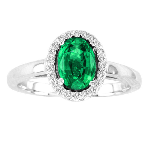 14kt White Gold Oval Diamond and Emerald Halo Ring  1.00ctTW