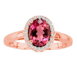 14kt White Gold Oval Diamond and Rubellite Halo Ring  1.00ctTW