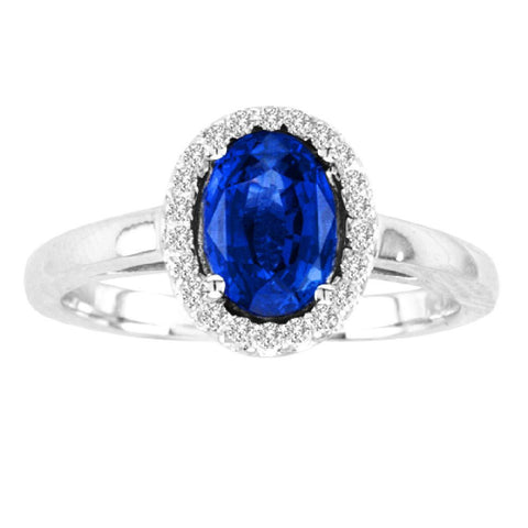 14kt White Gold Oval Diamond and Blue Sapphire  Halo Ring  1.20ctTW