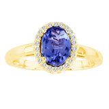 14kt White Gold Oval Diamond and Tanzanite Halo Ring  1.00ctTW