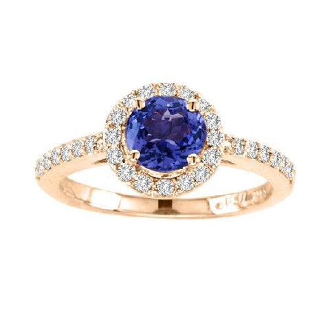 14kt Yellow Gold Round Tanzanite and Diamond Ring 1.41ctw